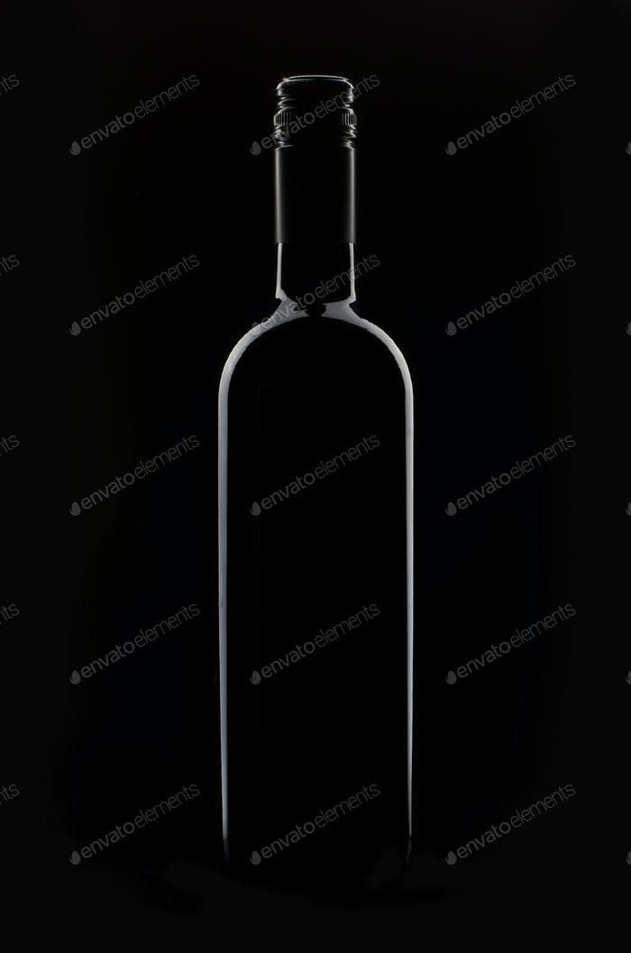 Red Wine bottle silhouette isolated on black background