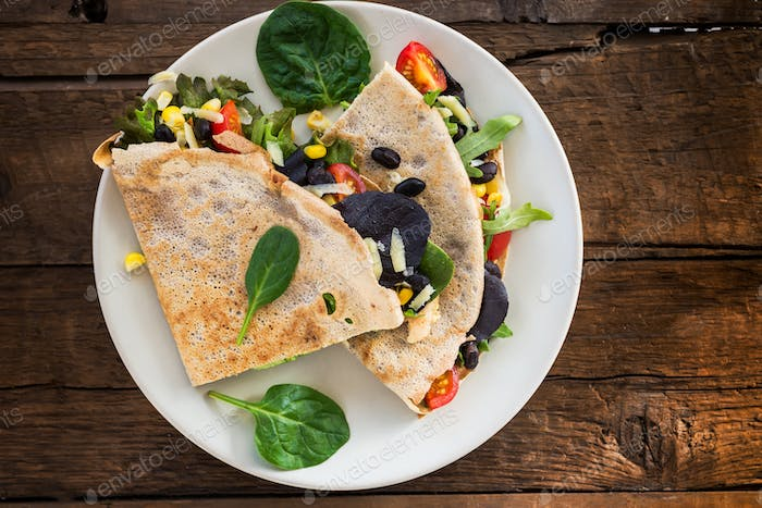 Savoury Buckwheat Pancake or Quesadilla