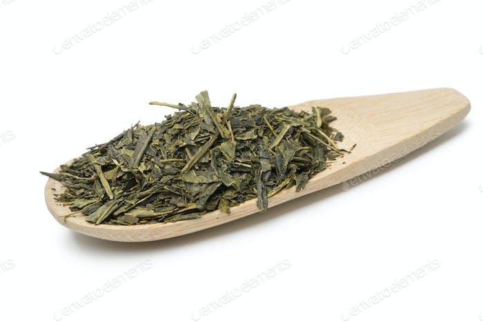 Löffel mit japanischem grünem Tee
