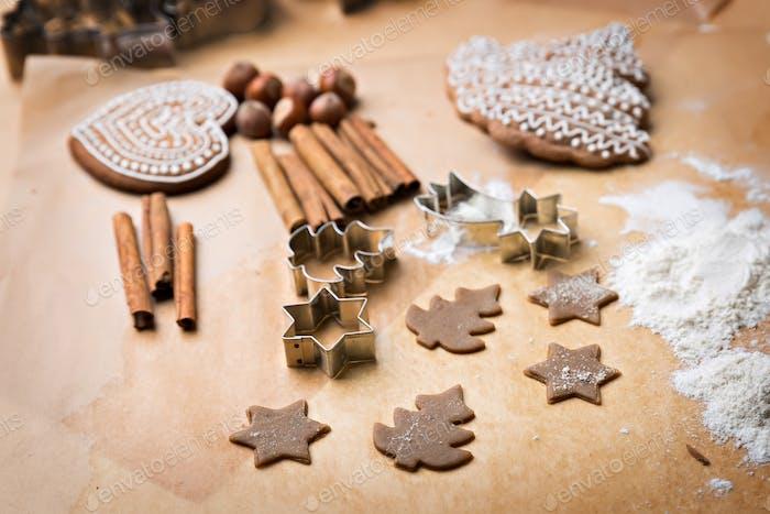 Gingerbread cookies making