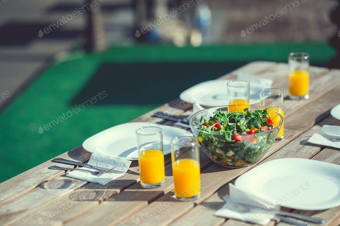 A table with a meal