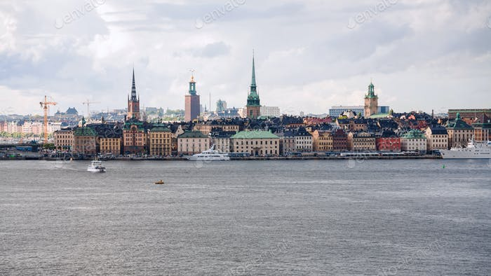 Stockholm city (Galma Stan, Old Town) from sea