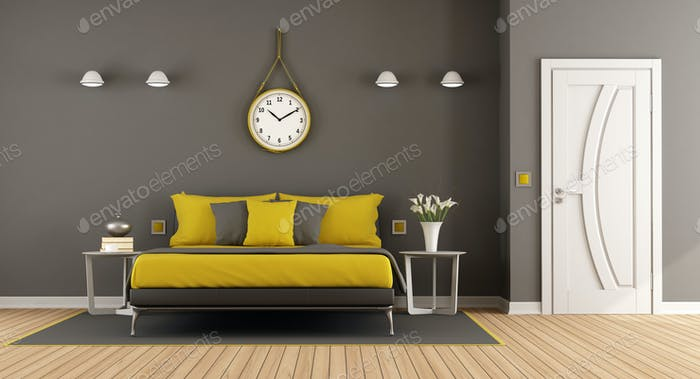 Gray and yellow modern master bedroom