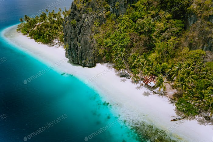 Pinagbuyutan Island, El Nido, Palawan, Philippines. Aerial drone photo of tropical hut surrounded by