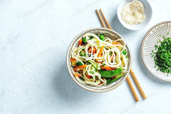 Vegan asian noodles served in bowl