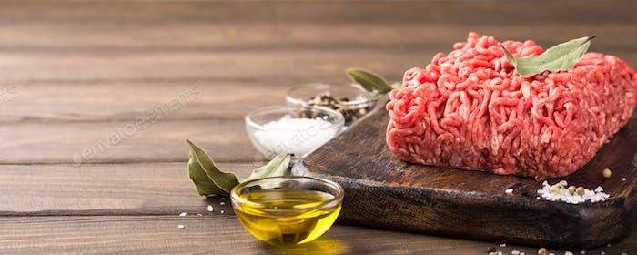 Fresh raw beef minced meat