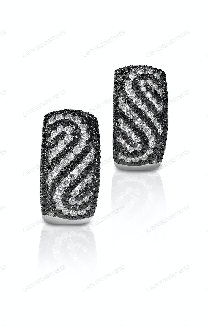 Black and white diamond pave swirl earrings