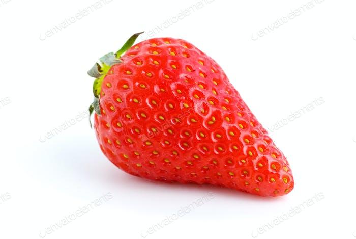Single ripe red strawberry