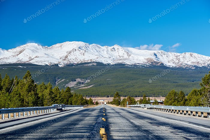 Highway in Colorado Rocky Mountains
