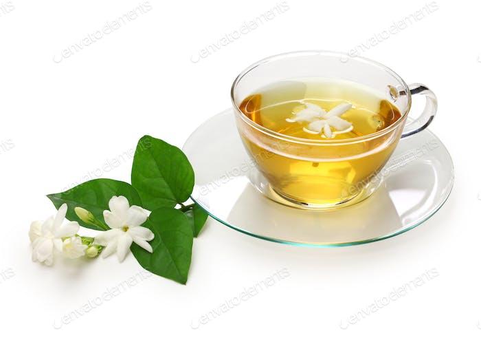 homemade jasmine tea and arabian jasmine flower isolated on white background