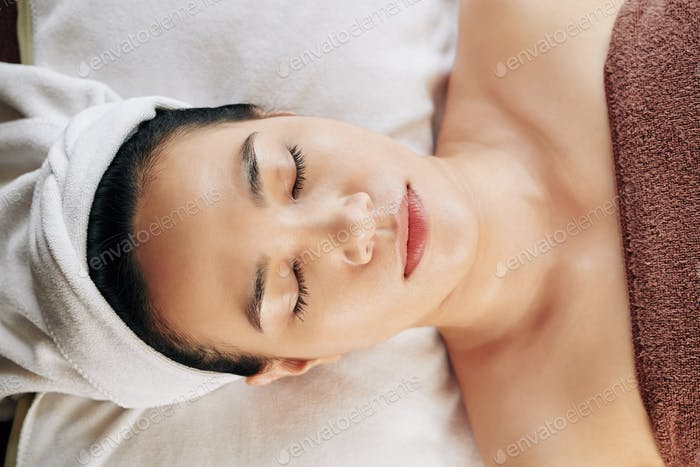 Woman resting in spa salon