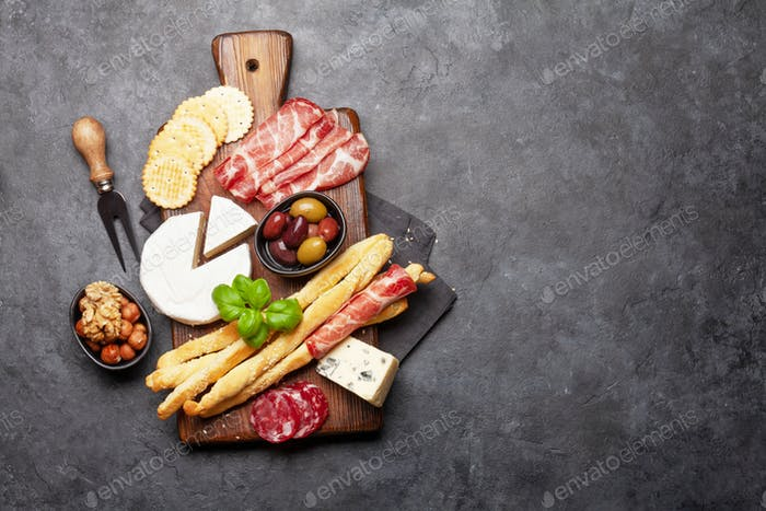 Cheese, meat and olives antipasto