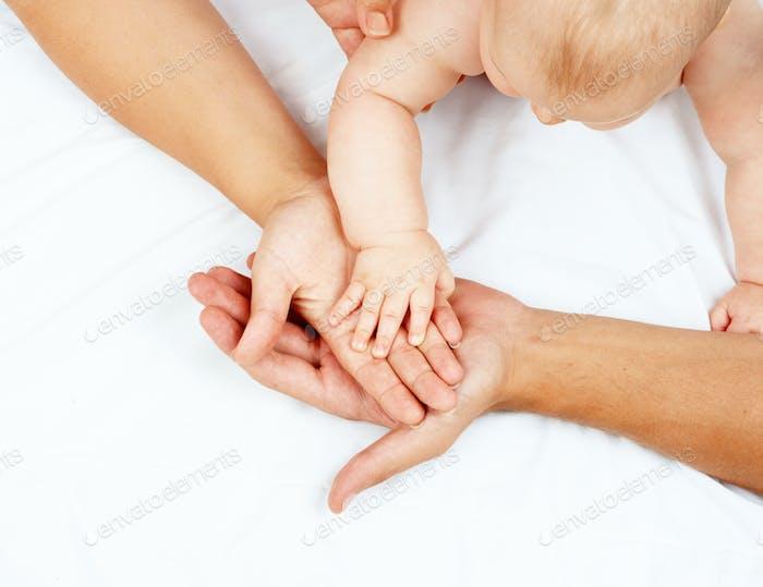 Hände Familie auf weiß