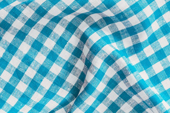 Wrinkled Natural Linen Plaid Fabric Abstract Background Texture, Blue And White Colors