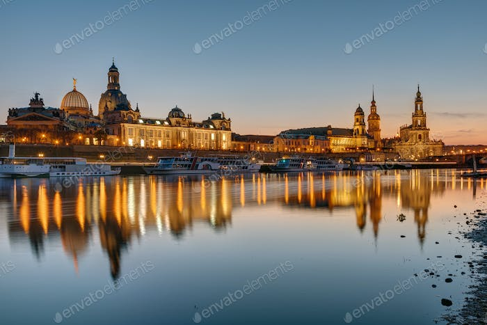 The skyline of Dresden at sunset