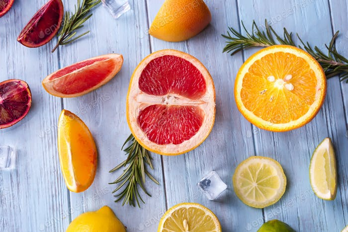 ingredients for summer drink orange frozen lemonade