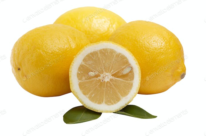Lemons on a white background.