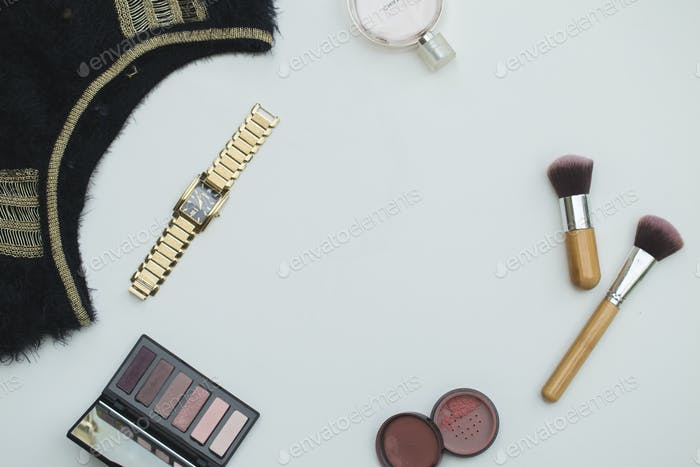 Professional makeup tools, flatlay on white background
