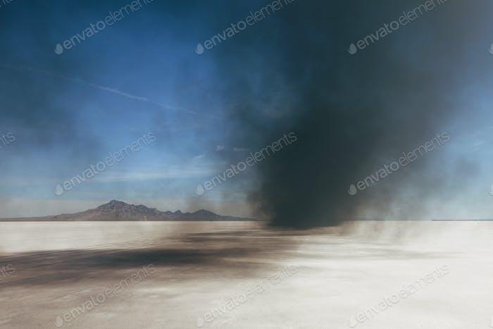 Black diesel smoke from racing truck on the Bonneville Salt Flats, UT