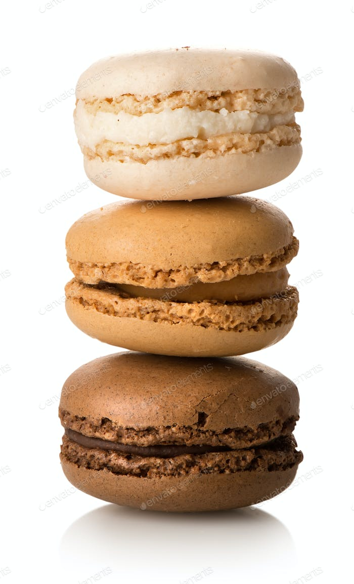 Caramel macarons isolated