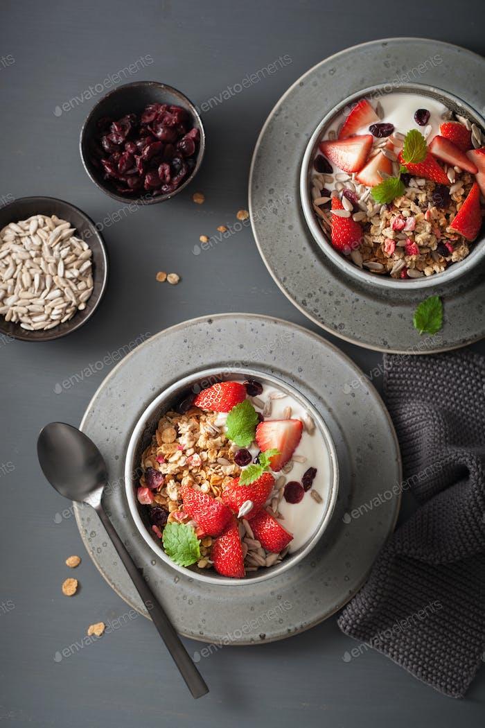 Müsli und Joghurt mit Samen und Erdbeere zum Frühstück