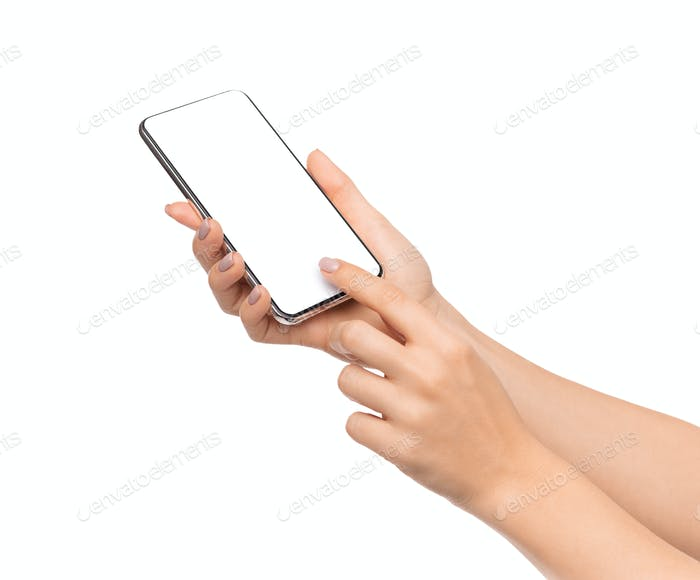 Female hand touching blank smartphone screen over white background