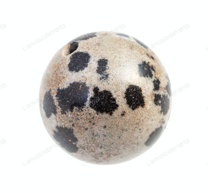 bead from Dalmatian Jasper rock isolated