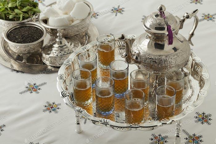 Traditional festive Moroccan silver tea set