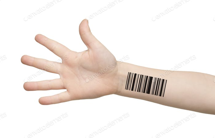 Genetics and cloning. Kid's hand with barcode isolated on white, collage