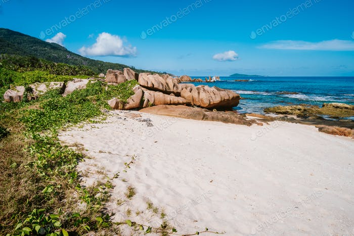 La Digue Island, Seychelles. Beautiful tropical landscape of remote secluded beach