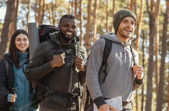 International group of backpackers going by forest