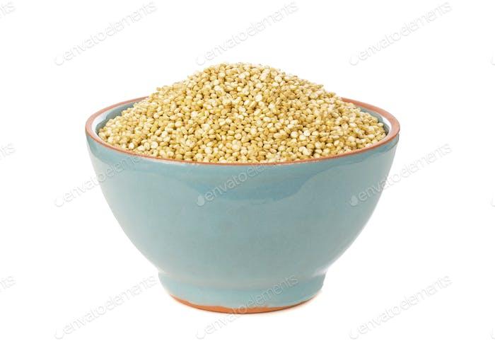 A Blue Bowl of Quinoa Seeds