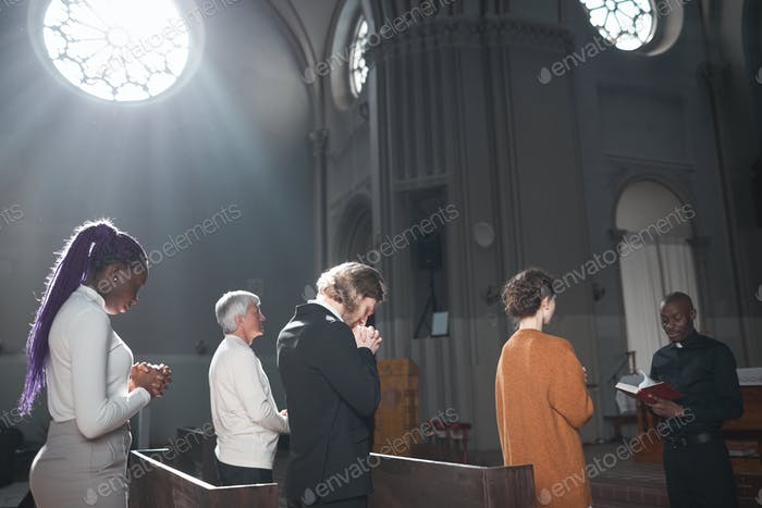 People standing in the church