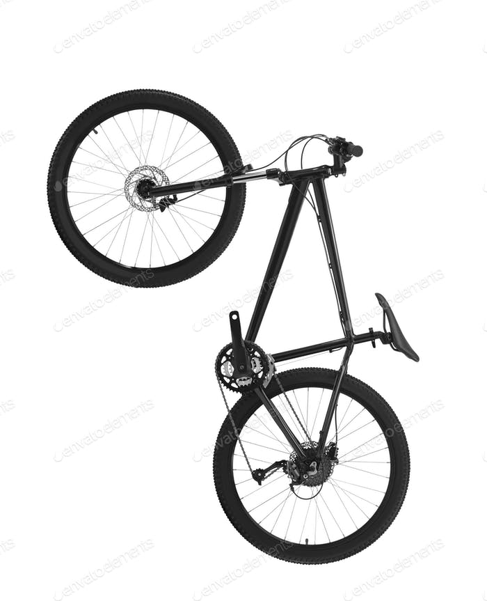black mountain bike isolated on white background