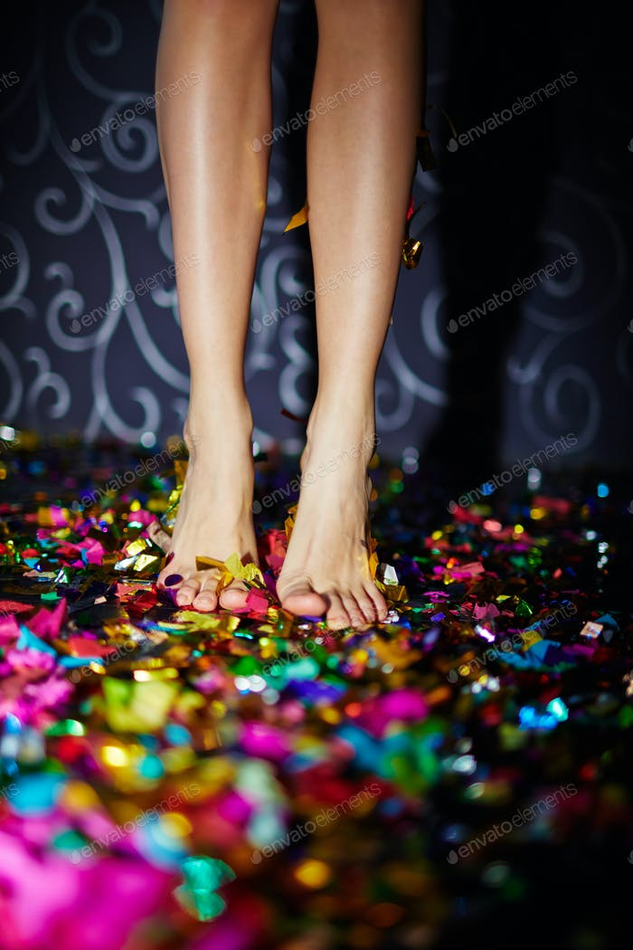 Legs on confetti