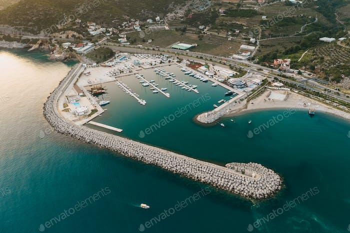 Touristic destination with view on sea and many yachts in Turkey