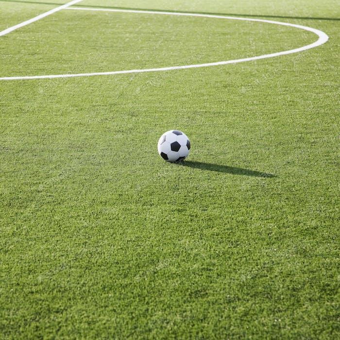 Soccer ball on soccer field.