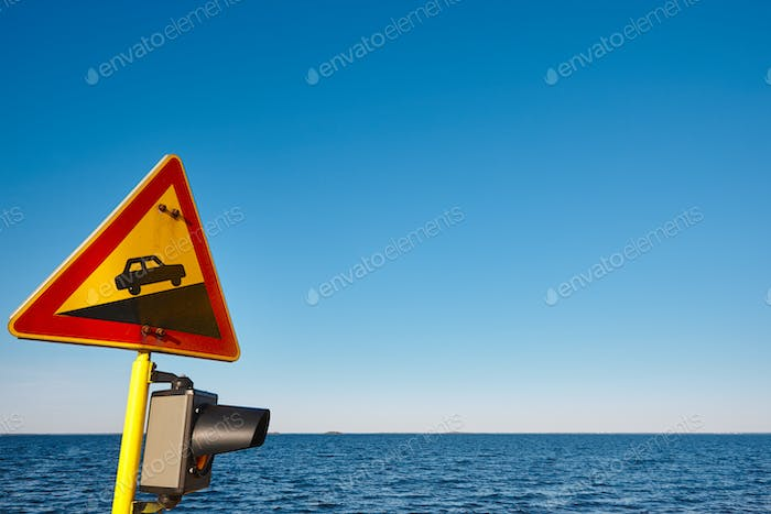 Slope traffic signal on a vessel. Caution alert curiosity warning. Horizontal