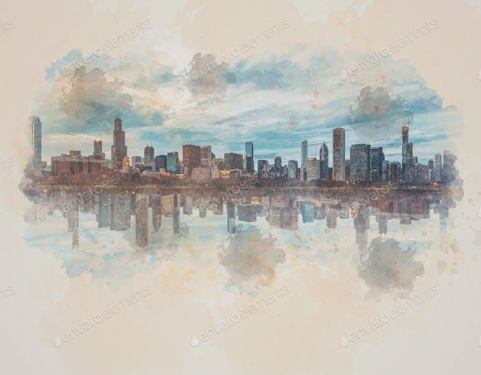 Digital Watercolor Scene of Chicago Cityscape river side, Illinois, United States