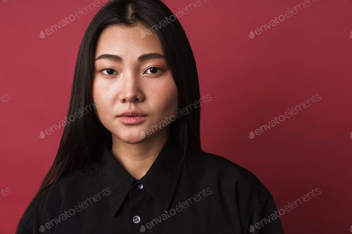 Close up of a pretty young asian woman