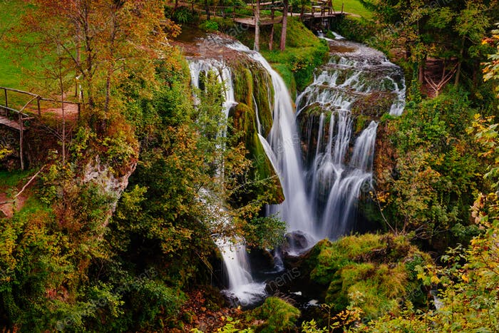 Waterfall on Korana river canyon in village of Rastoke. Slunj in Croatia
