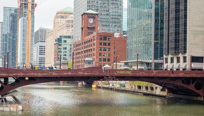 Chicago Dearborn street bridge over river, high rise buildings background
