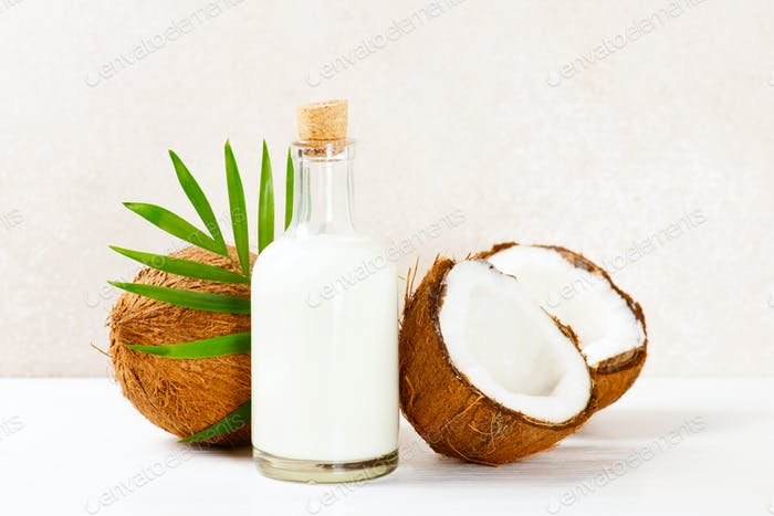 Coconut Milk in the Glass Bottle