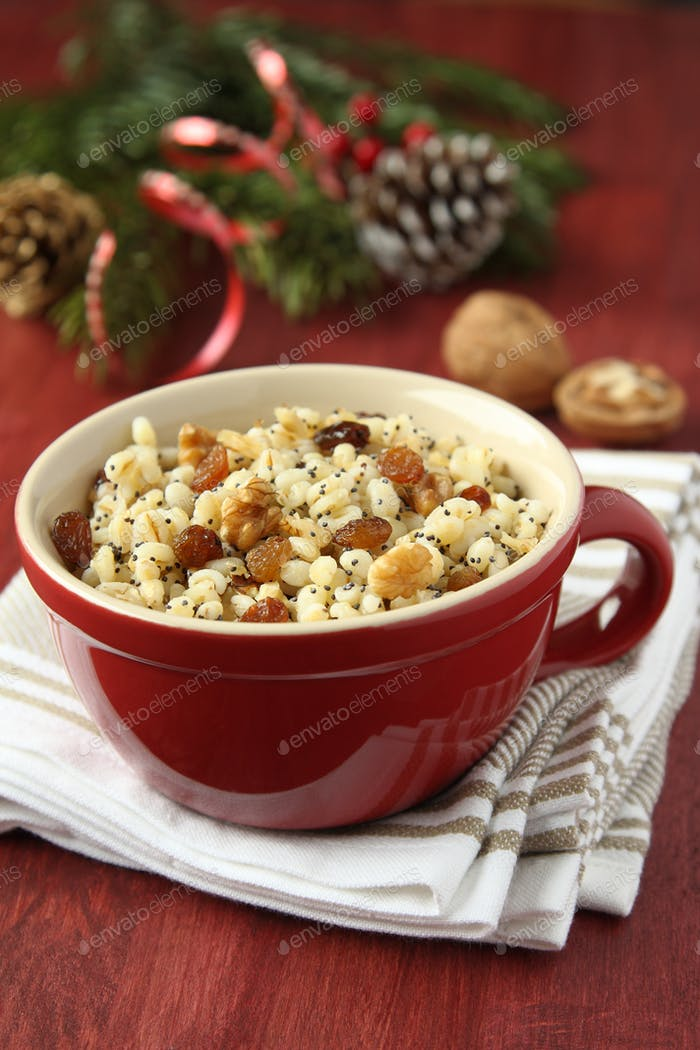 Pot with kutia - traditional Christmas sweet meal