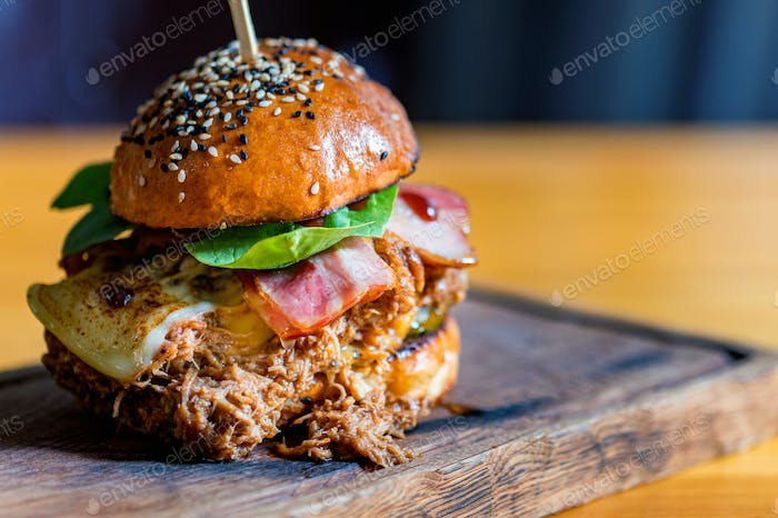 Thumbnail for Close up tasty burger with minced meat served on tray