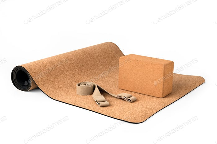 Yoga Cork Mat Set With Cork Block and Strap