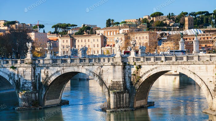 St Angel Bridge on Tiber river in Rome city