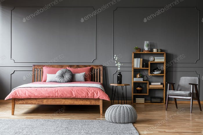 Grey elegant bedroom interior