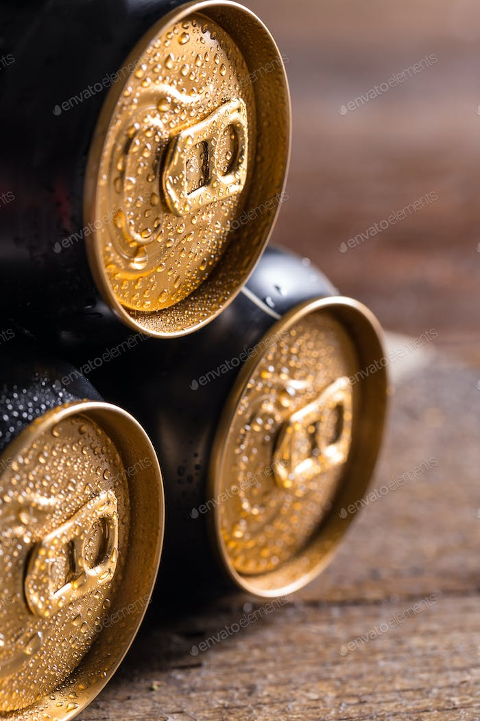Cans with water drops