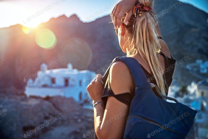 Traveler girl enjoying city view